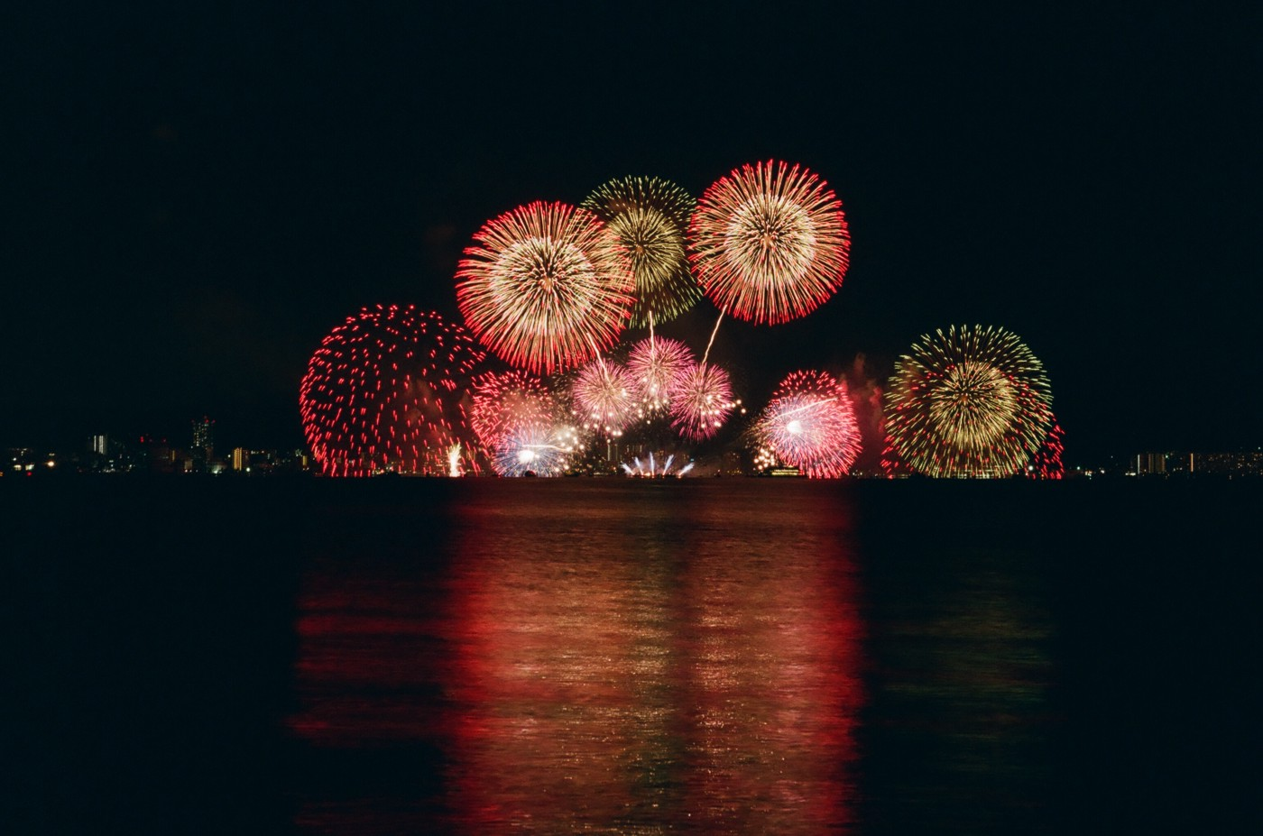 An image of fireworks in the night.