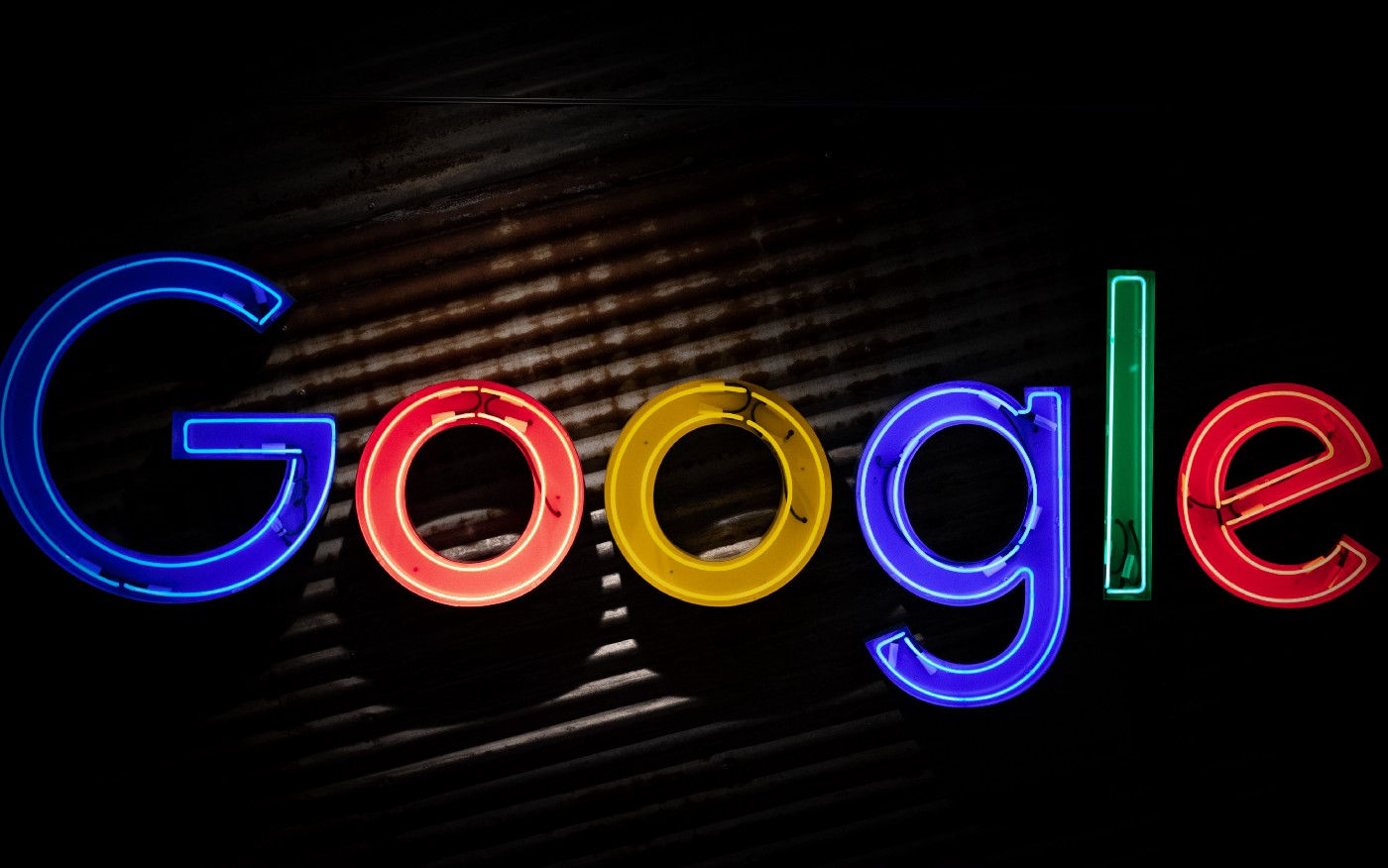 Colored lights in the shape of letters spelling out Google.