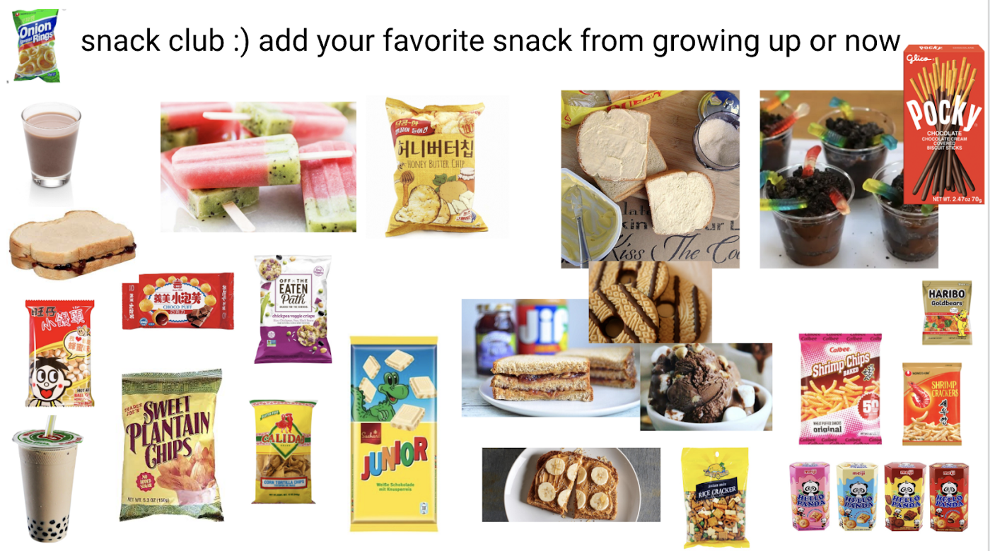 A screenshot of snacks shared including bread, mayo, chips, and cookies