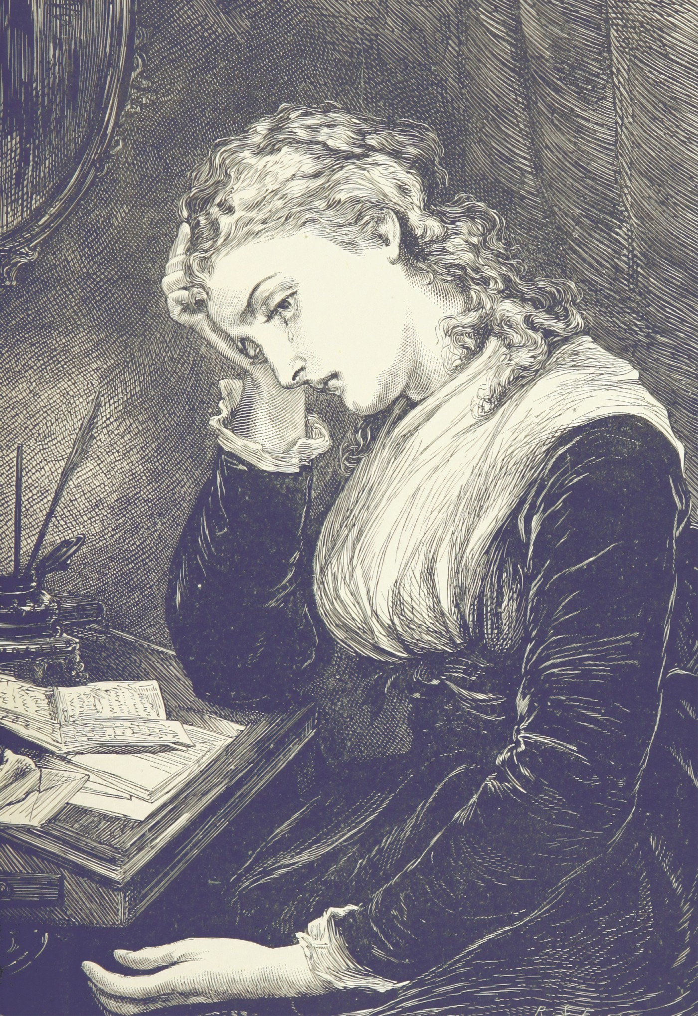 A Victorian drawing of a crying woman.