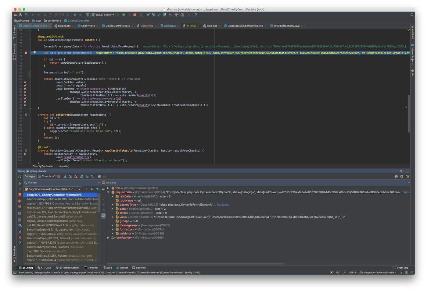 Running a Play app with Docker locally and debugging with IntelliJ Idea