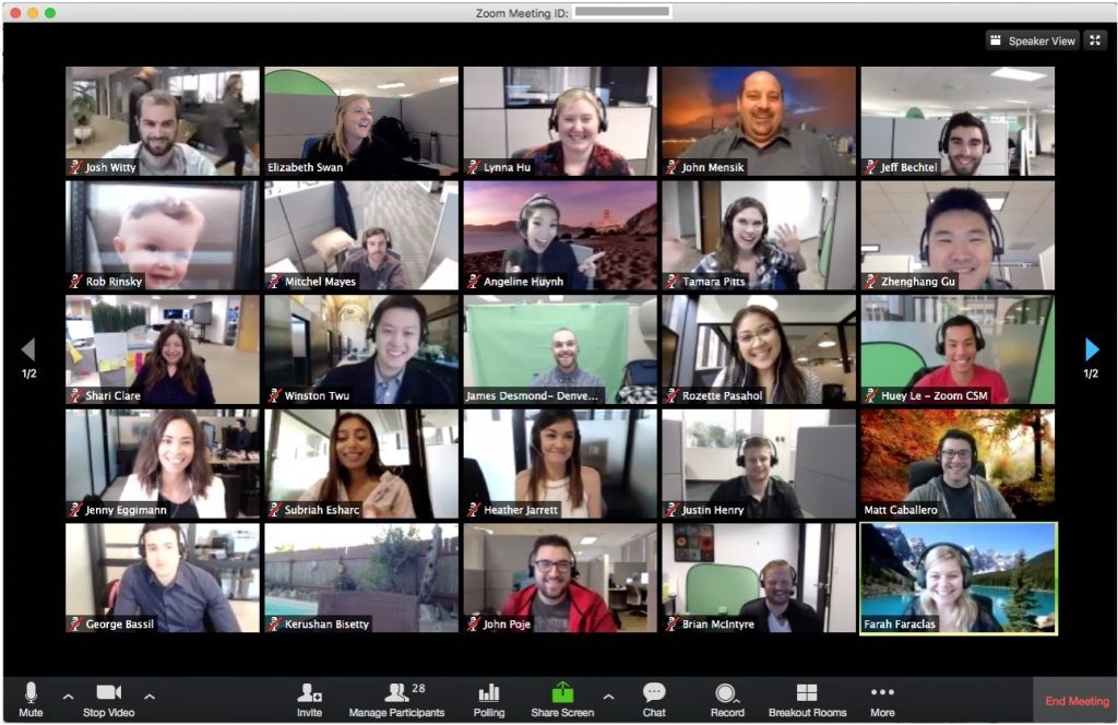 A Zoom video chat window showing 25 participants on a single screen, with a second page of participants indicated.