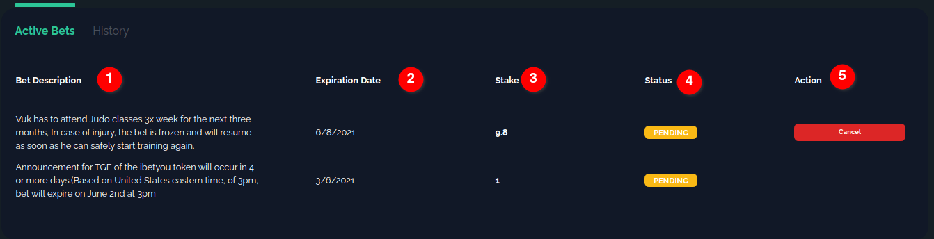 Explaining active bets section