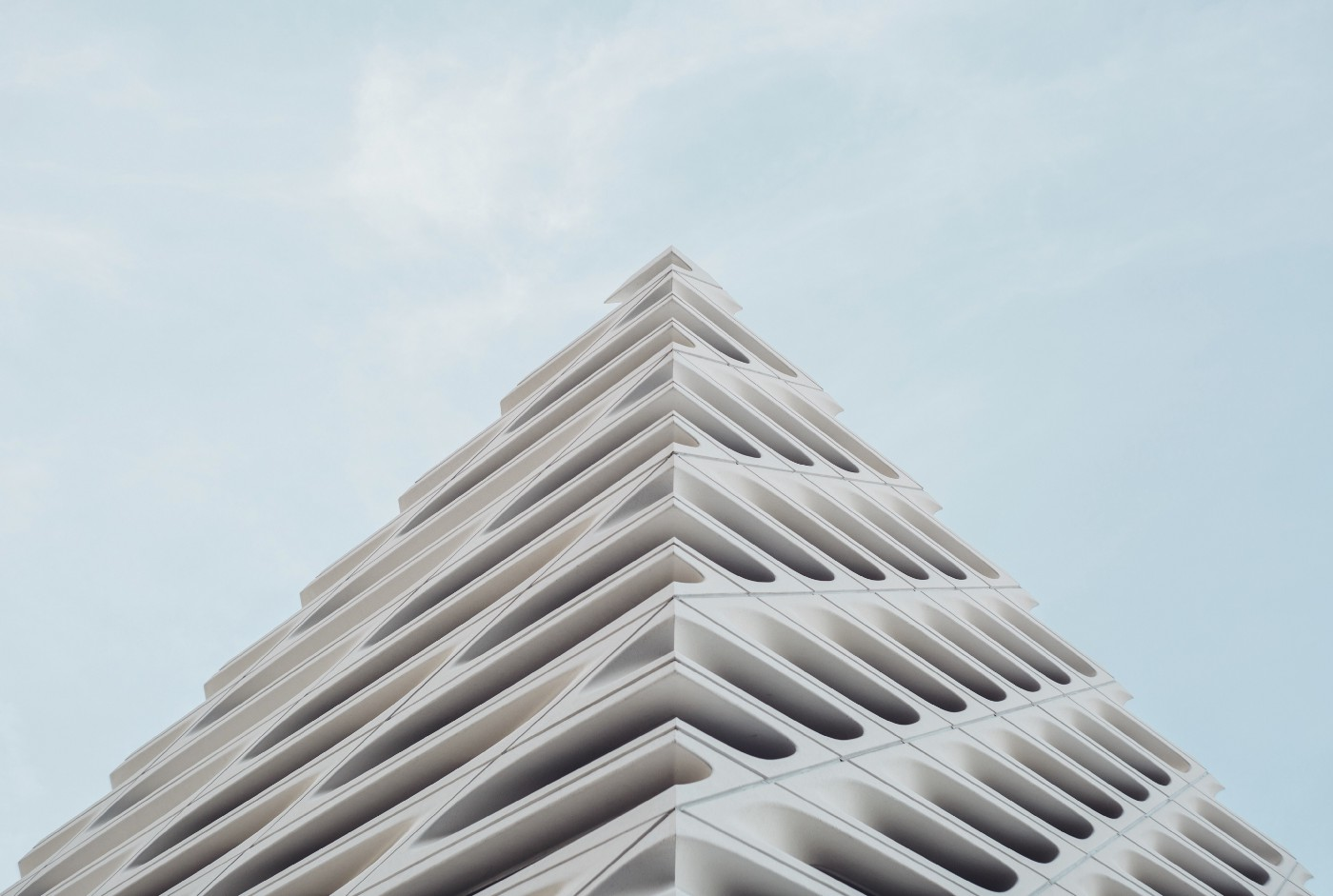 abstract view of a tall geometric building