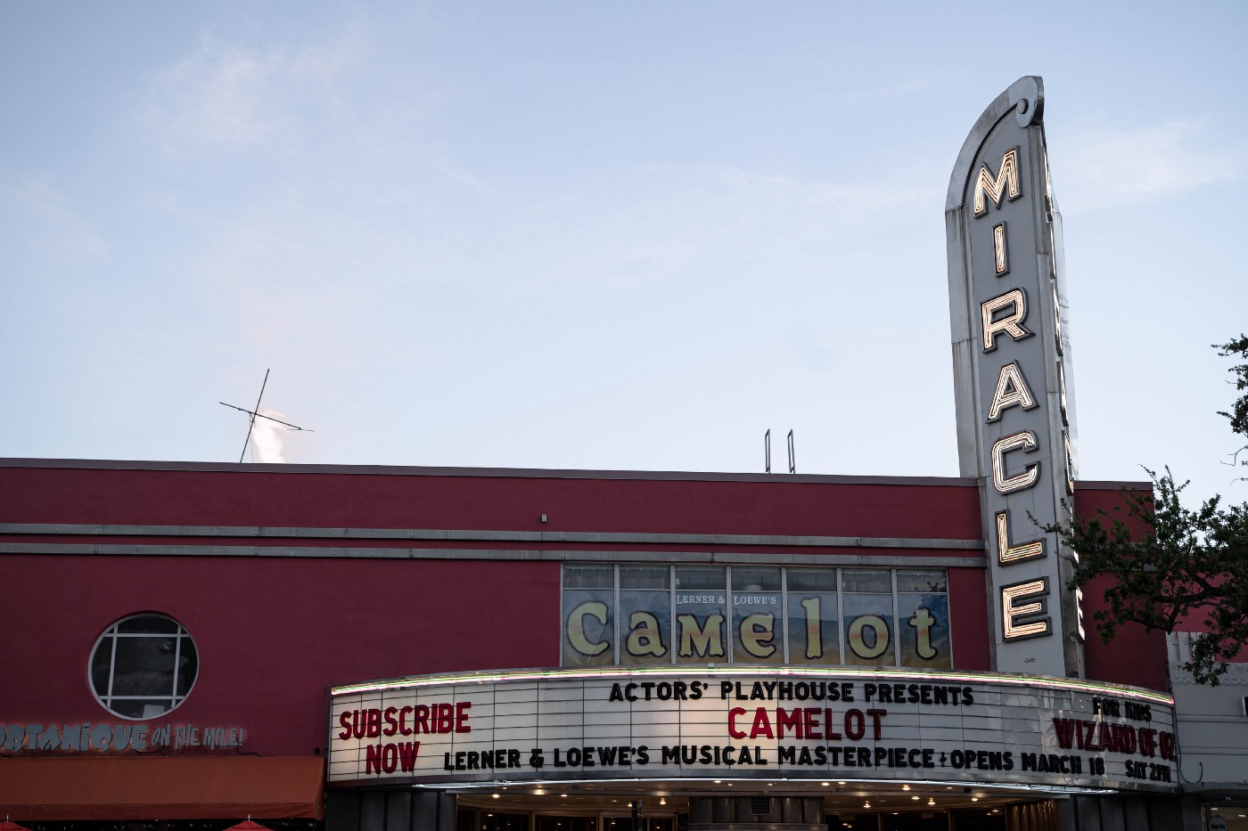photo of movie theater named Miracle showing movie Camelot