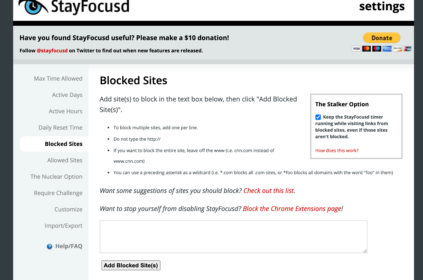 stayfocusd blocked sites example