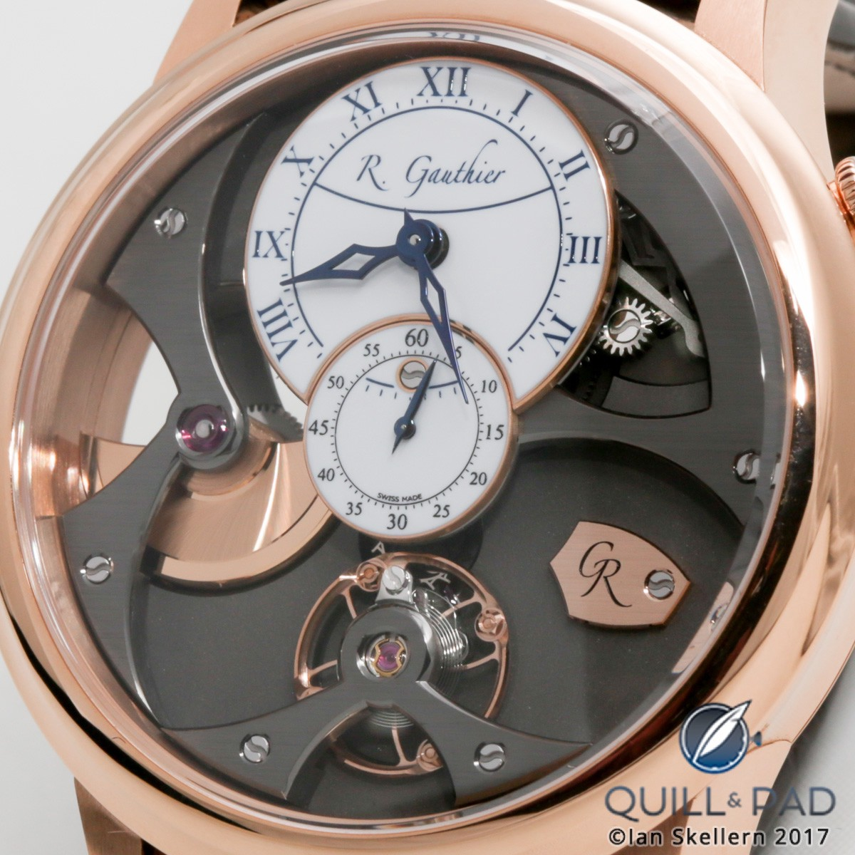 Close up look dial side of the Romain Gauthier Insight Micro-Rotor in red gold