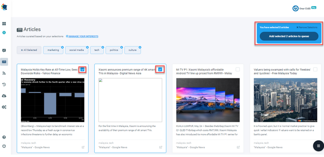 Select most relevant articles for audience and add them to the queue to post on LinkedIn
