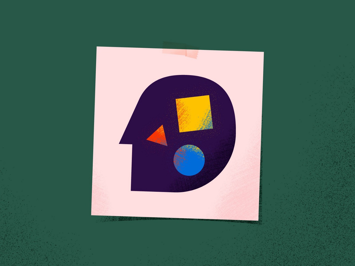 Colorful illustration on abstract shape