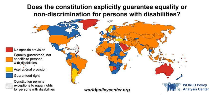 """Annotated map of the world by the World Policy Center. The title is """"Does the constitution explicitly guarantee equality or non-discrimination for persons with disabilities?"""". There are five categories, """"No specific provision"""", """"Equality guaranteed, not specific to persons with disabilities"""", """"Aspirational provision"""", """"Guaranteed Right"""" and finally, """"Constitution permits exceptions to equal rights for persons with disabilities"""". There is a diverse mix of these categories throughout the world."""