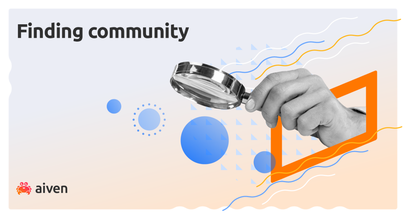 A hand holding a magnifying glass represents Aiven joining the OpenSearch community
