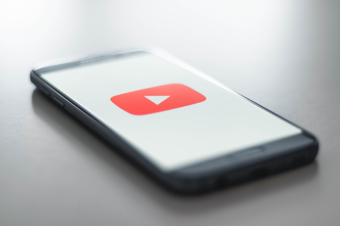 Phone displaying YouTube logo