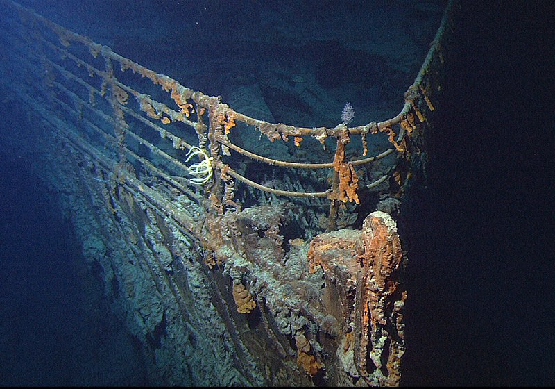 The bow of the sunken Titanic