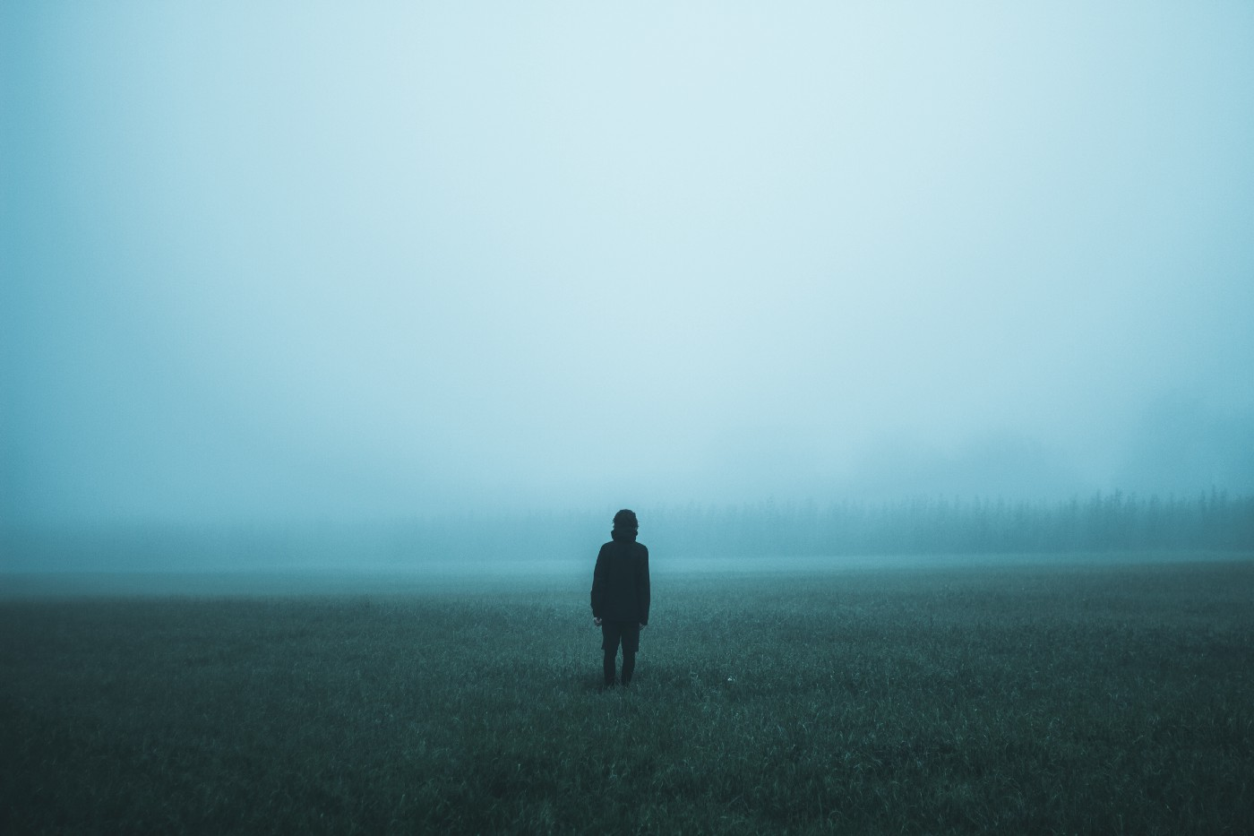 A person standing in a foggy field.
