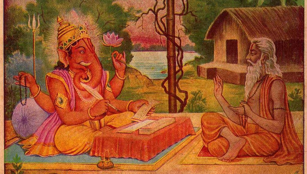 Ganesha writes the Mahabharata non-stop as dictated by Vyasa non-stop as requested by Ganesha to be recited non-stop. Or else, he said, he will run away with the manuscript.