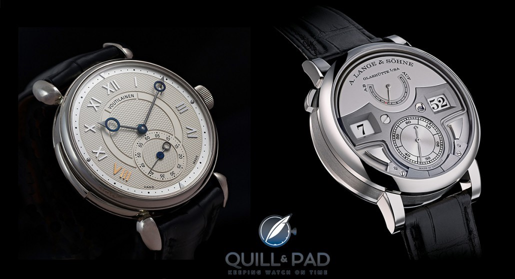 Two great decimal repeaters: the Kari Voutilainen Masterpiece 8 (left) and the A. Lange & Söhne Zeitwerk Minute Repeater
