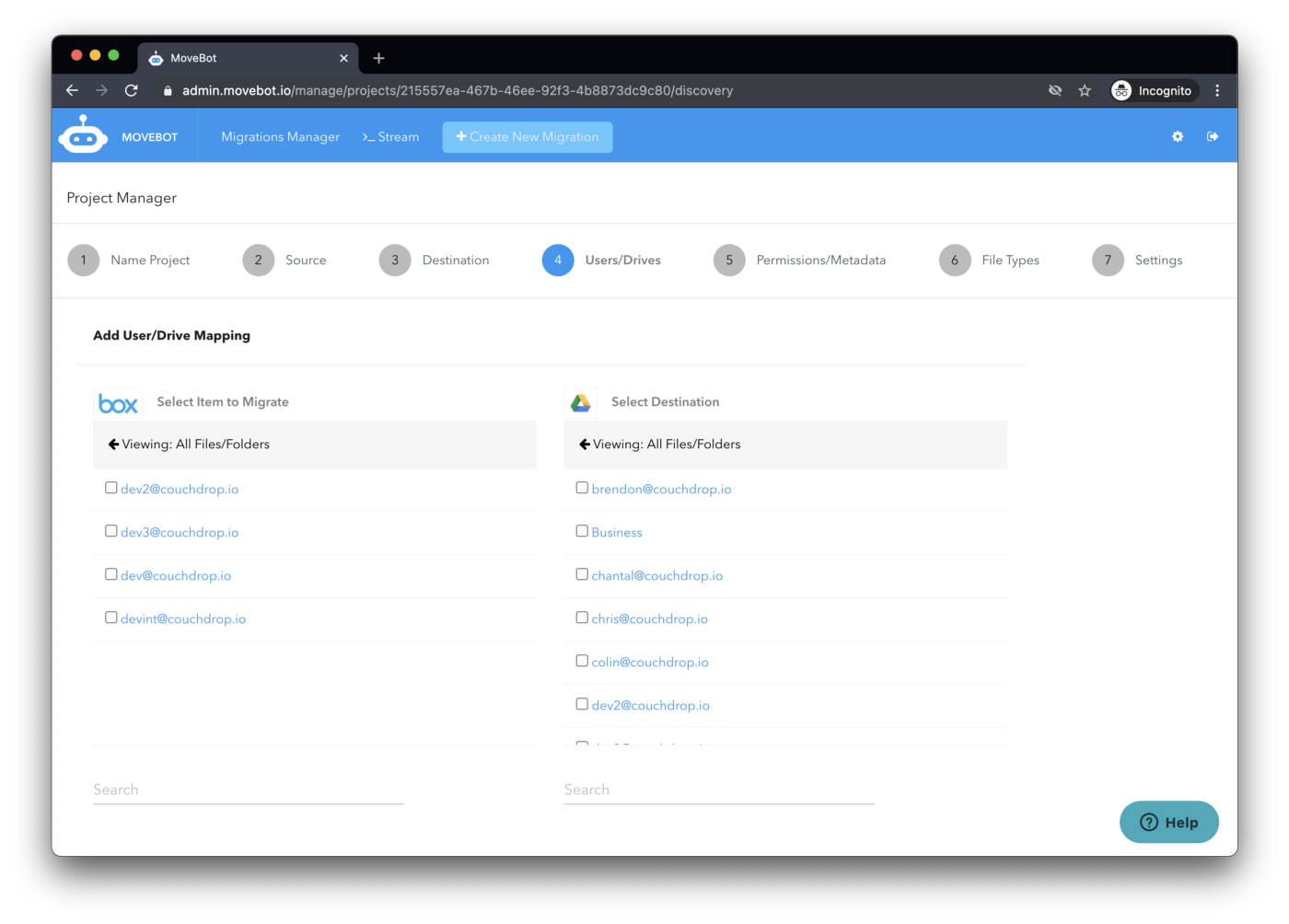 migrate box users and folders to Google Drive