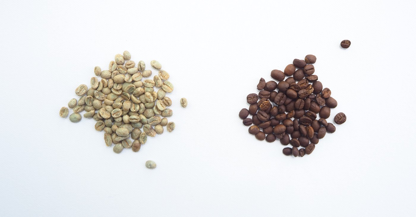 Two different sets of coffee beans