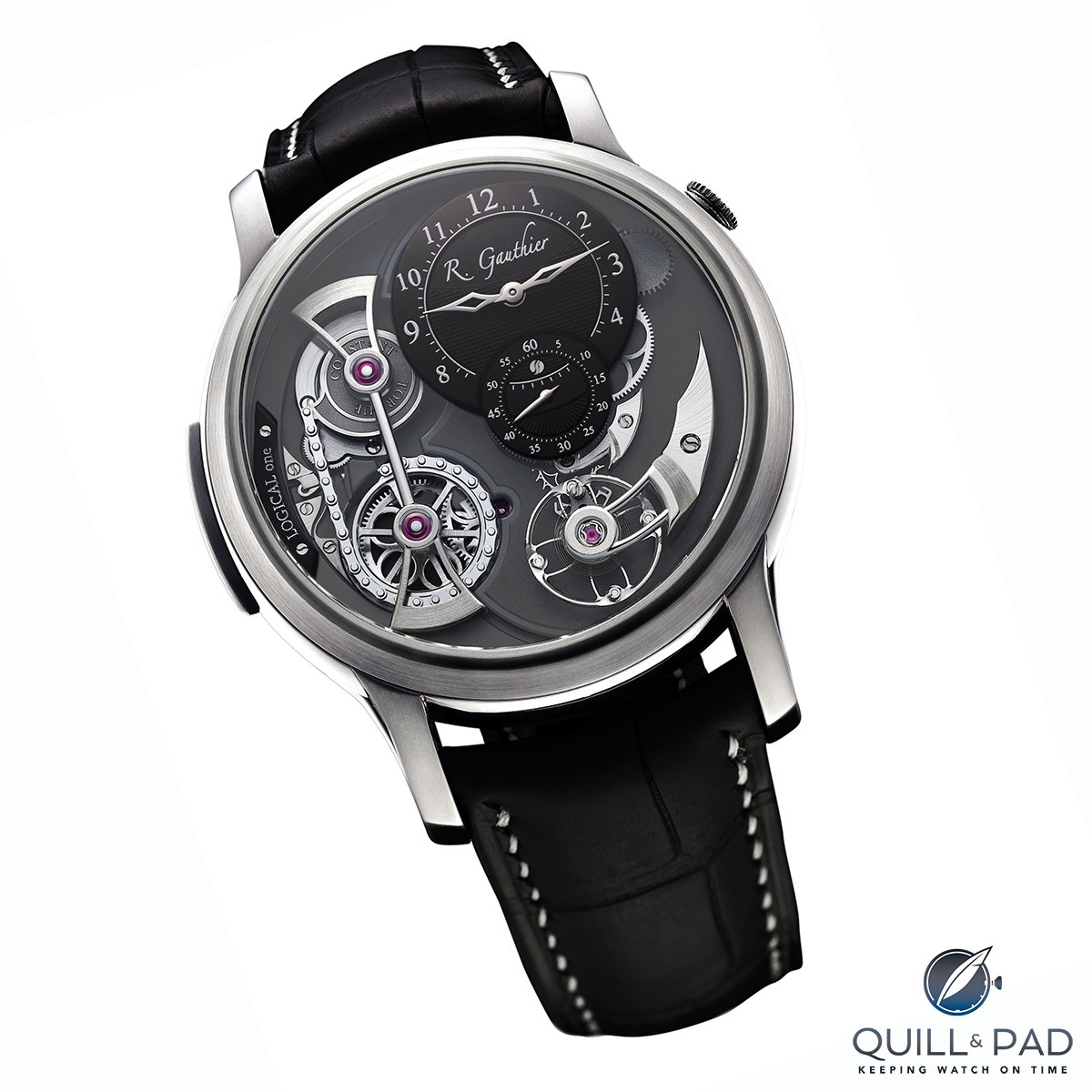 Romain Gauthier Logical One in natural titanium with black guilloche dials
