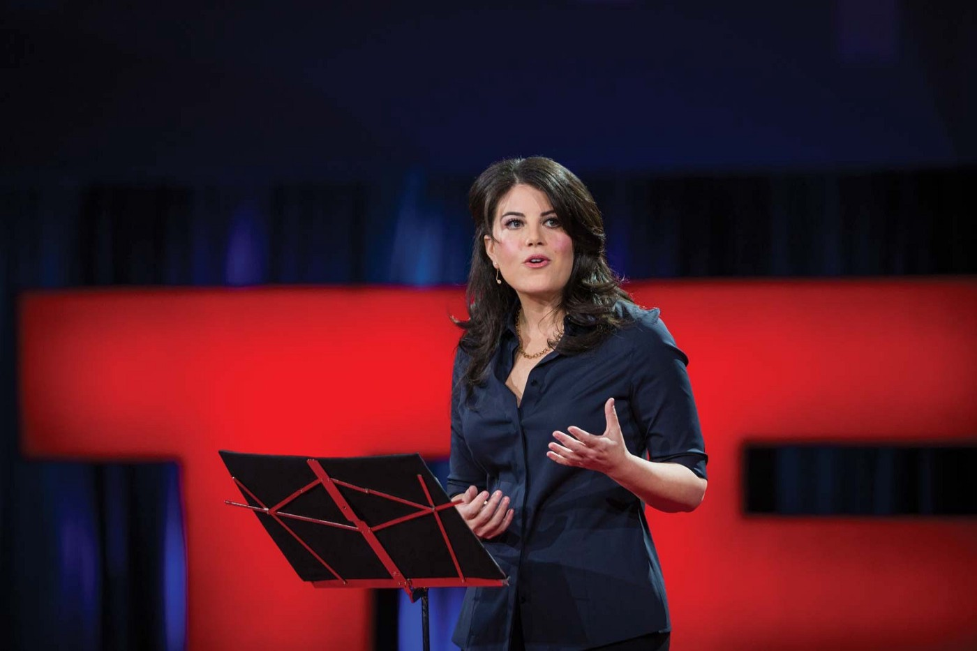 Monica Lewinsky on the TED Stage speaking