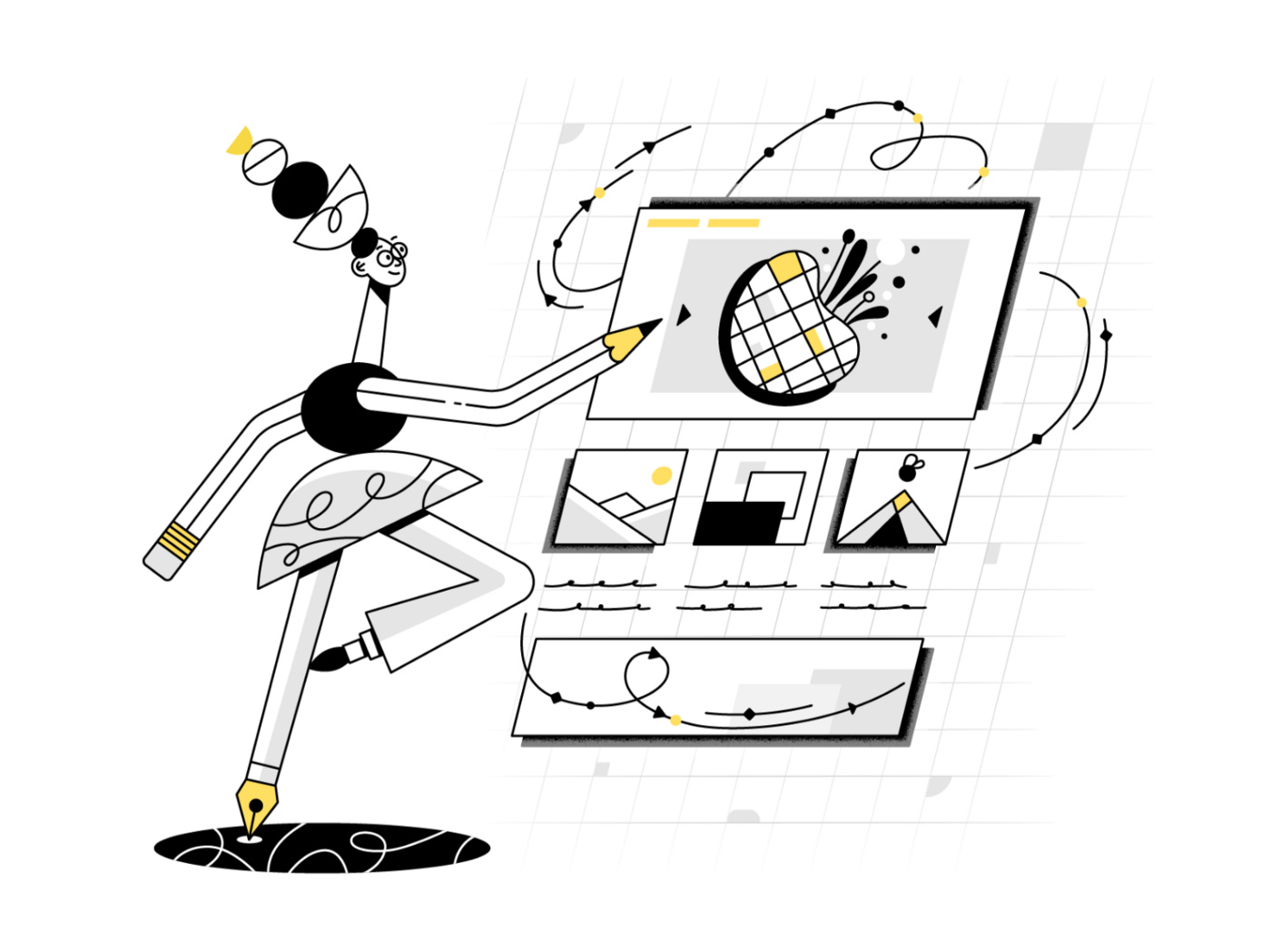 Illustration of a designer drawing on a screen