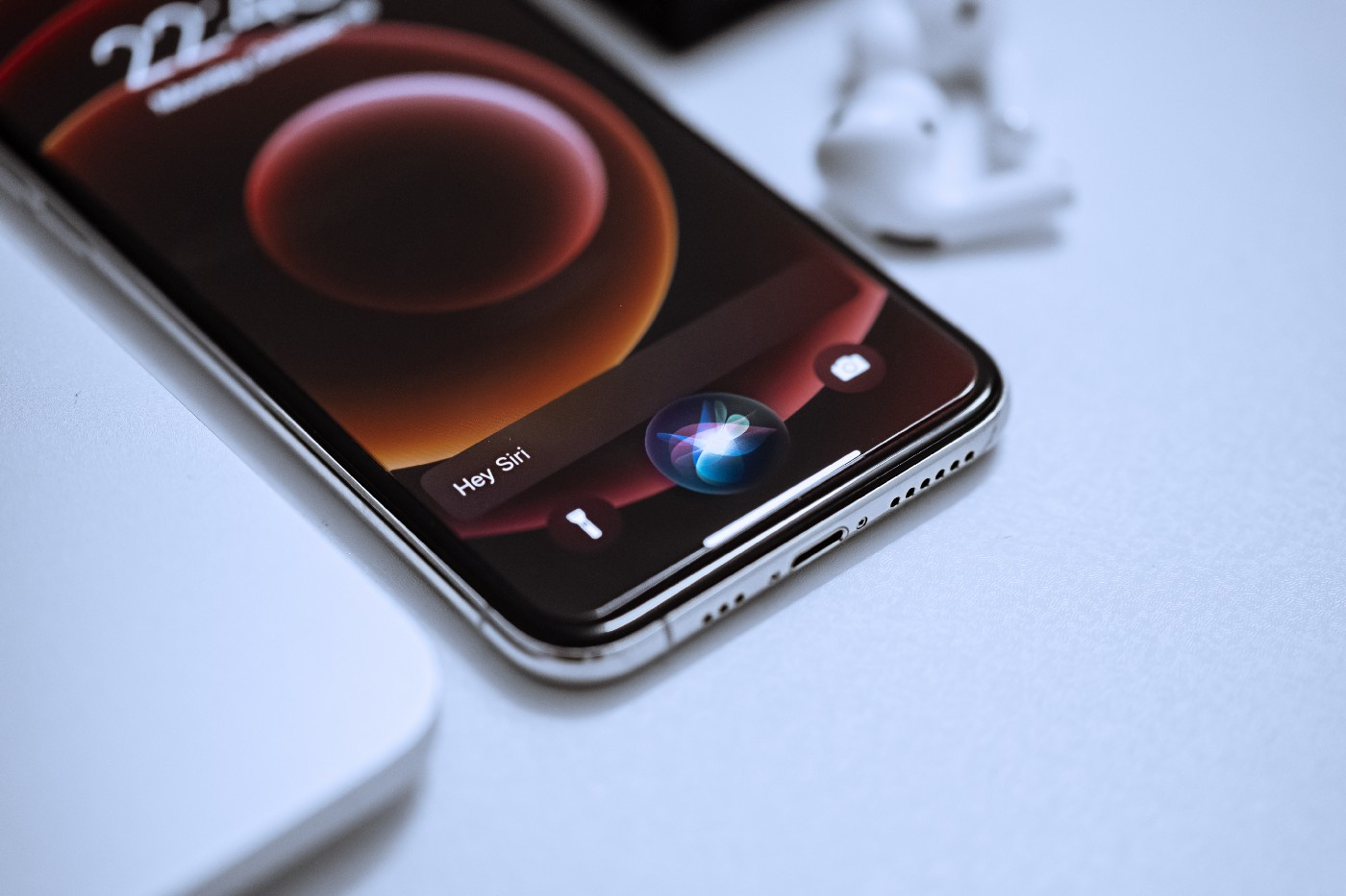 A phone using a voice assistant.