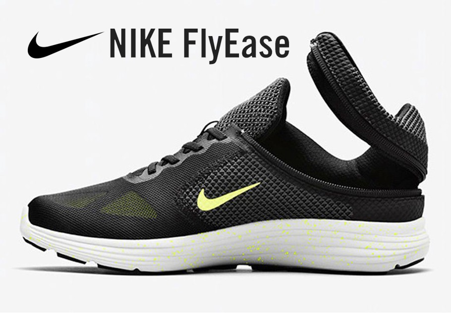 Nike's FlyEase shoe designed after hearing from a teenager with cerebral palsy who sought a shoe he could put on by himself.