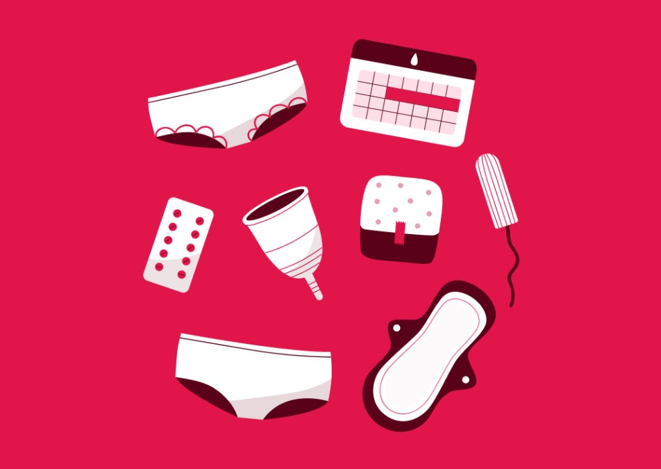 illustration of pads, underwear, birth control, and tampons