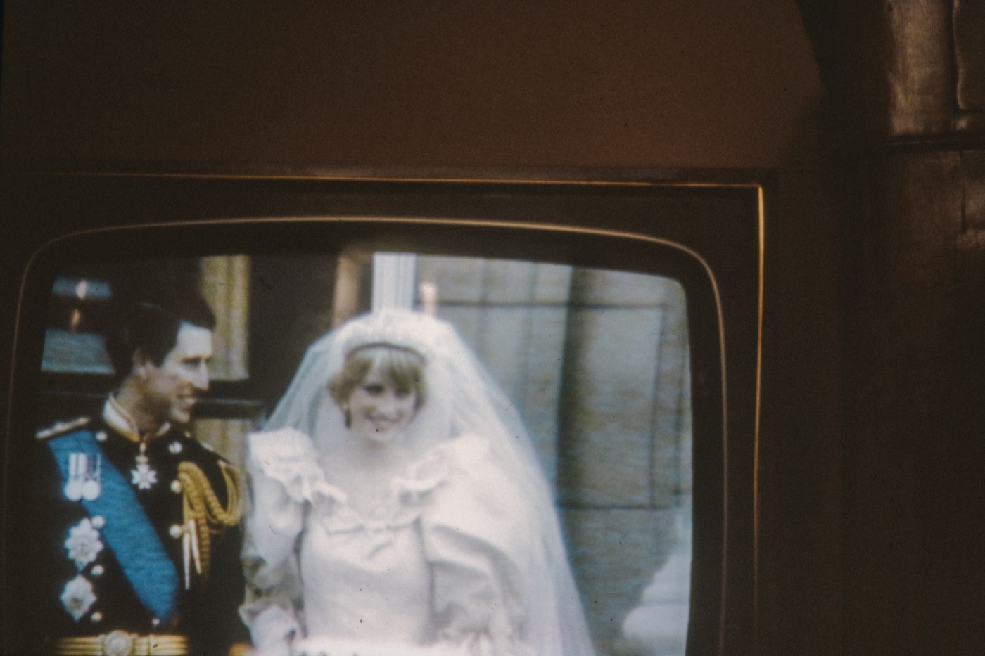 Lady Di and Prince Charles on their wedding day, from an old TV