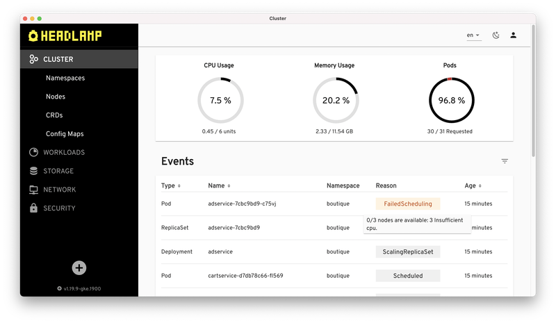 Headlamp's cluster view, showing basic cluster metrics and a list of events