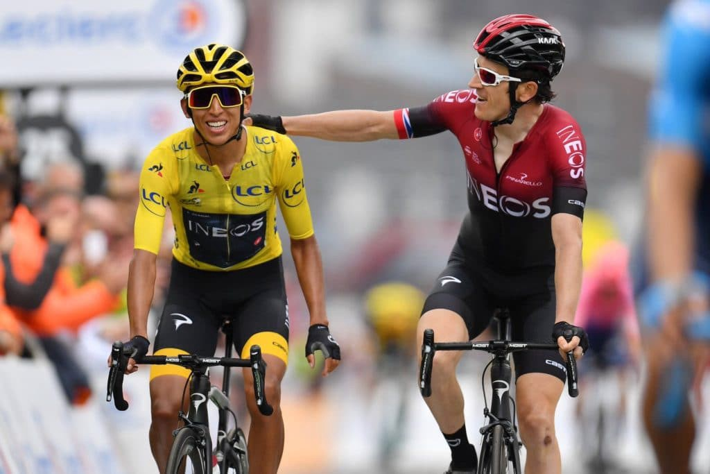 Sponsorship in pro cycling. Egan Bernal and Geraint Thomas of Team Ineos cross the line together at the Tour de France