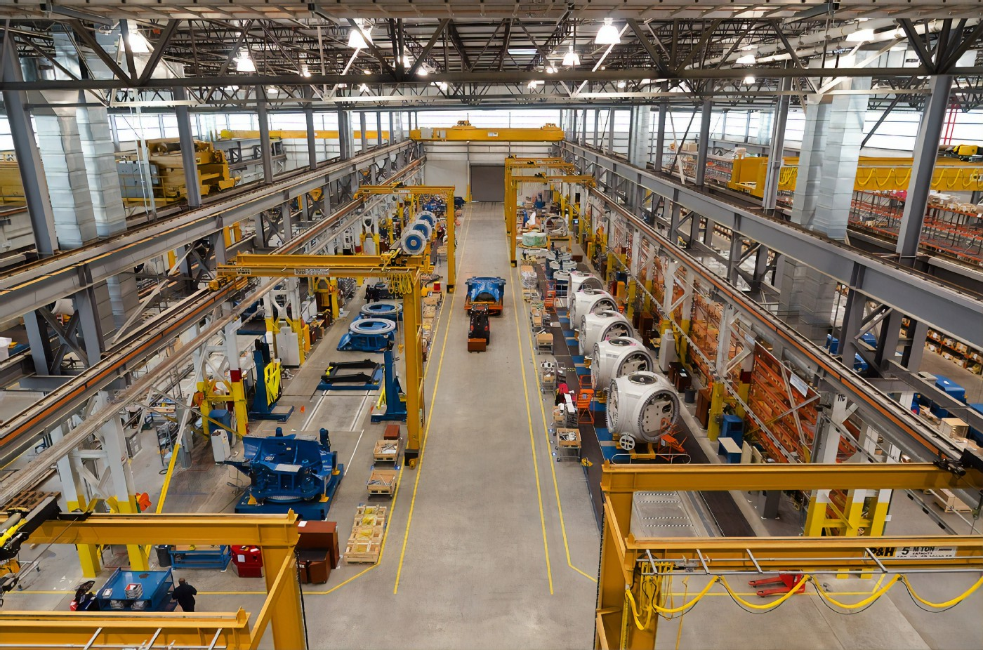 A wind turbine assembly line, making extensive use of automation. Photo by Science in HD on Unsplash