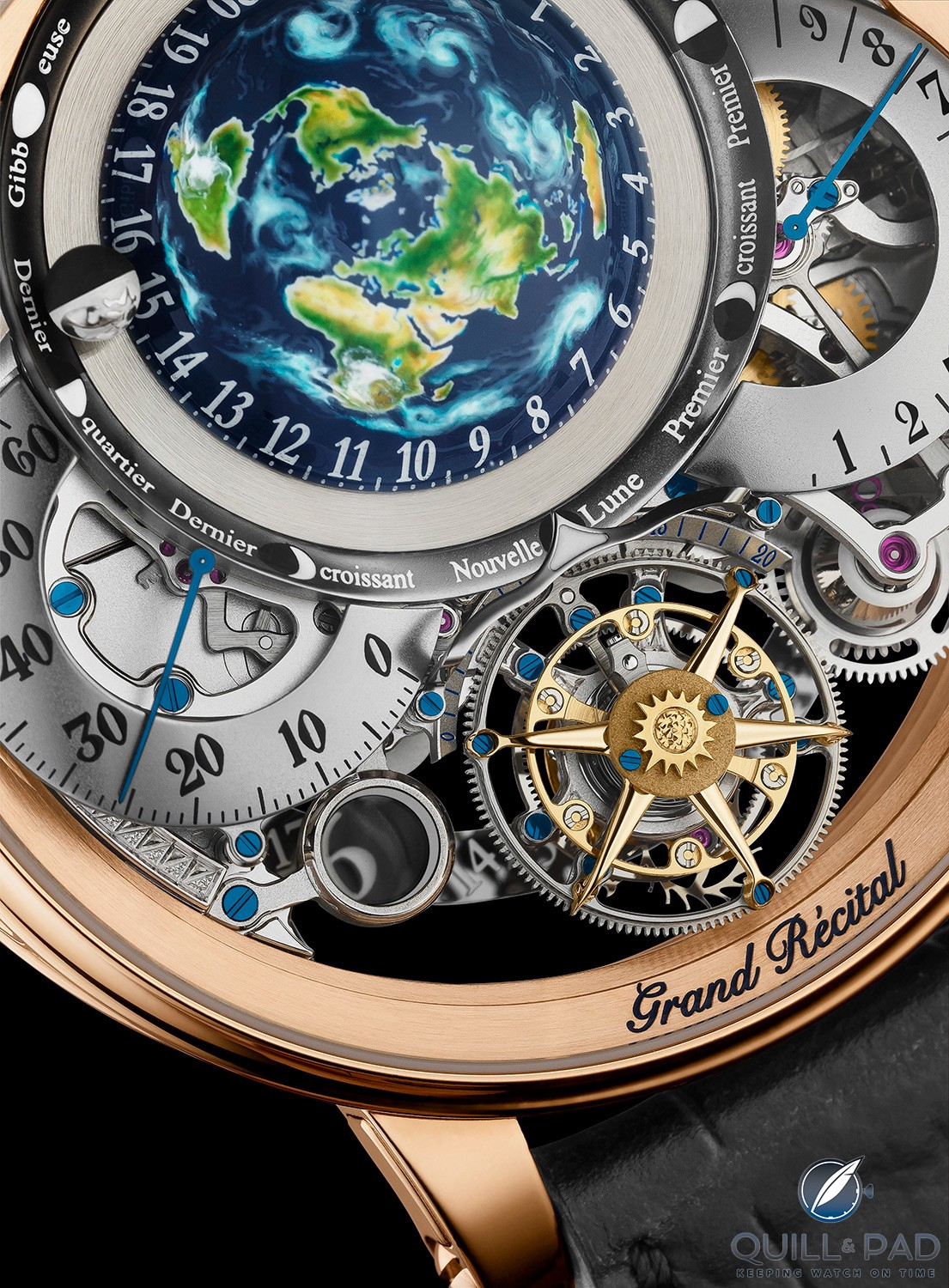 The moon (visible beside the 15 top left) on the Bovet Récital 22