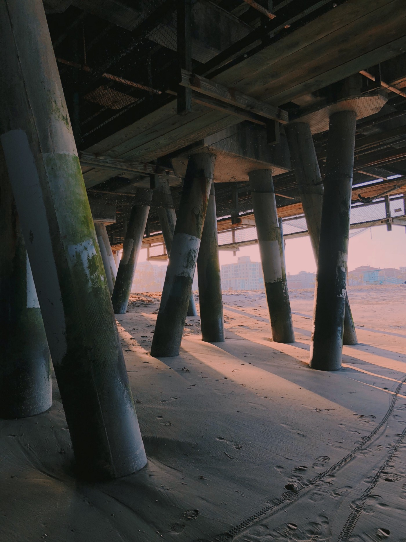 a set of pillars maintaining a structure