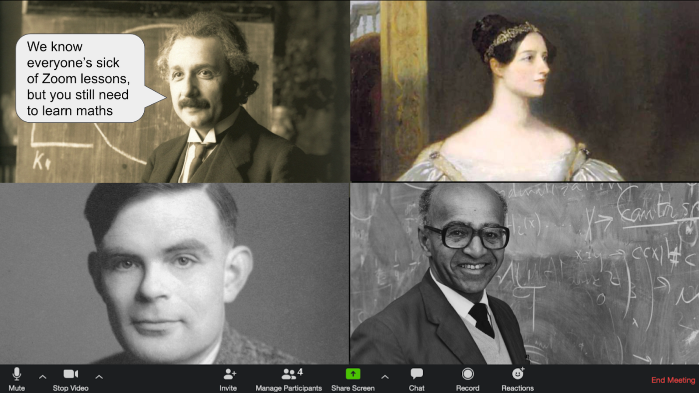 A screenshot of a Zoom chat window, which features Albert Einstein, Ada Lovelace, Alan Turing, and David Blackwell. Einstein is introducing a maths quiz via a drawn on speech bubble