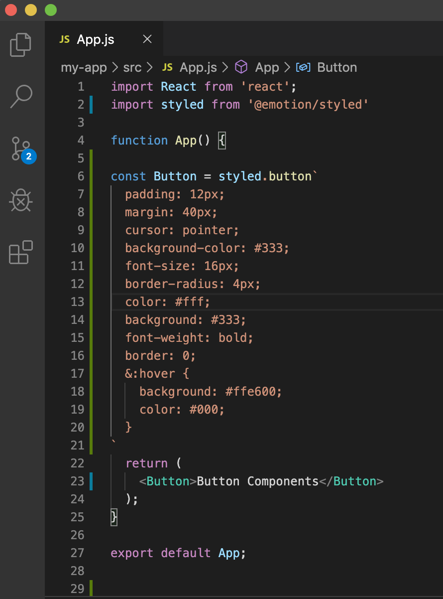 A basic code to create a button component in react code