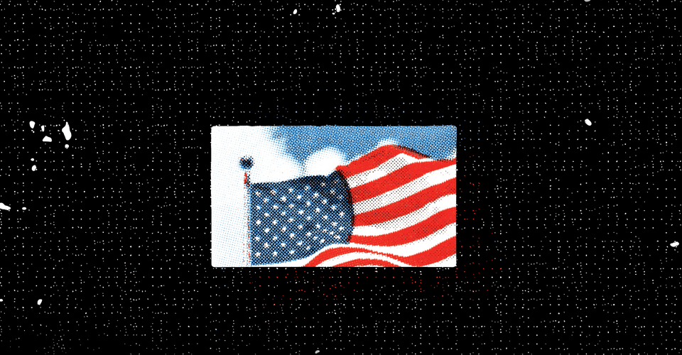 A small photo of a US flag flying in a blue sky, on a larger field of black with a grid of white dots.