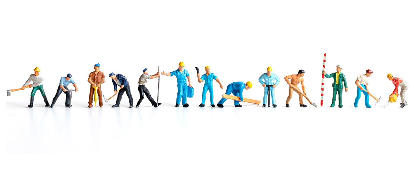 line of construction worker characters in different poses