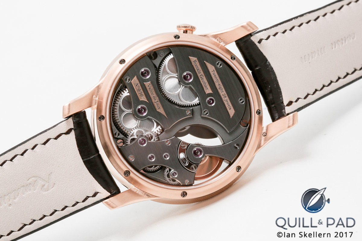 Back of the Romain Gauthier Insight Micro-Rotor in red gold