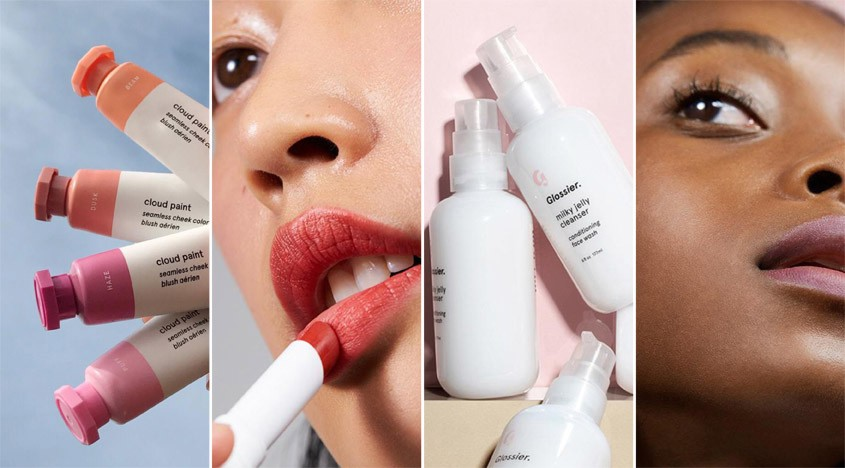 Collage of Glossier products and models
