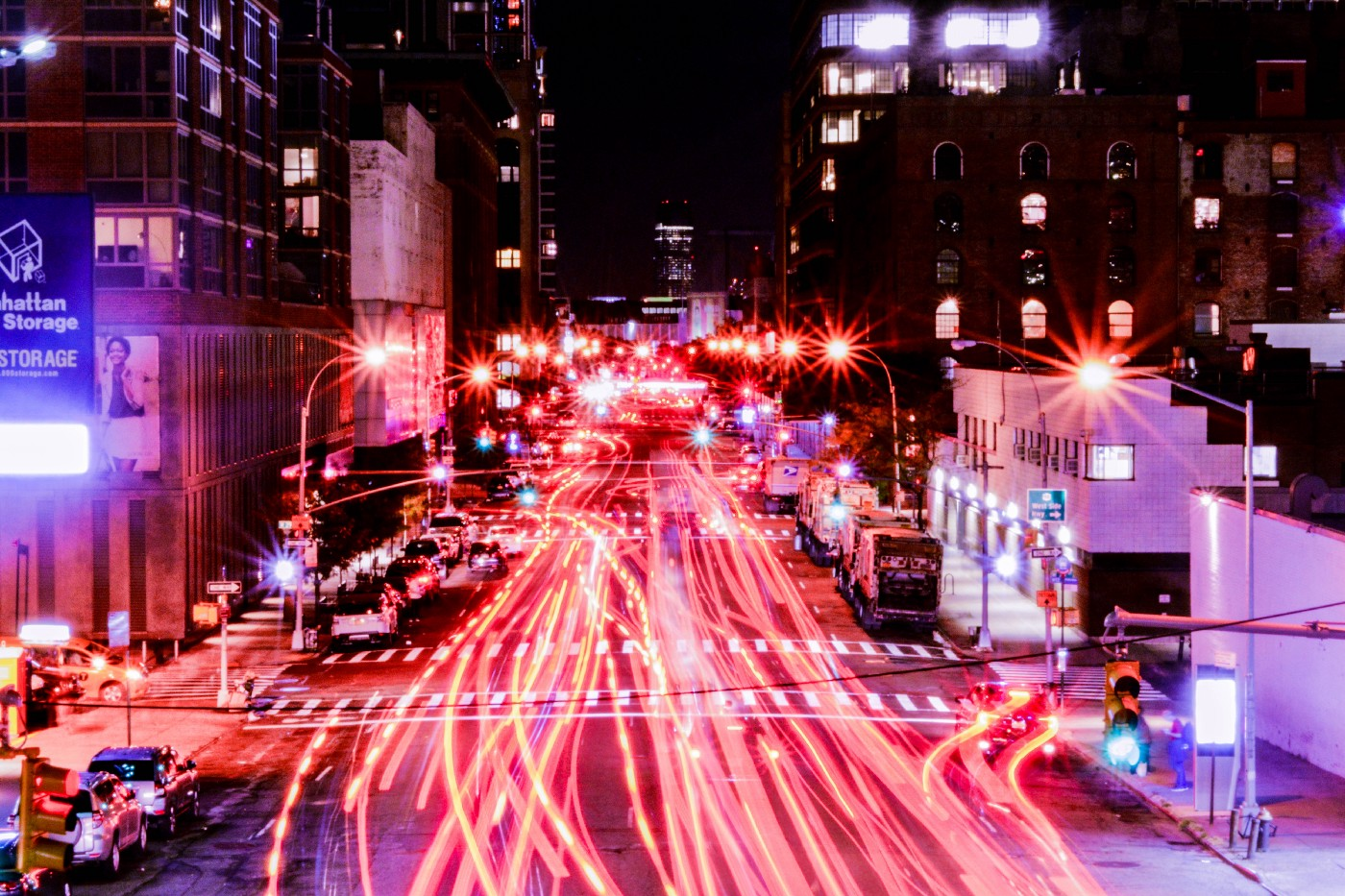 Time lapse of city streets at night