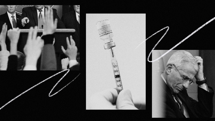3 vertical black-and-white images. Left: Donald Trump pointing at raised hands at a press conference. Middle: A hand drawing medication out of a vial into a syringe. Right: Dr. Fauci looking downward, scratching his head.