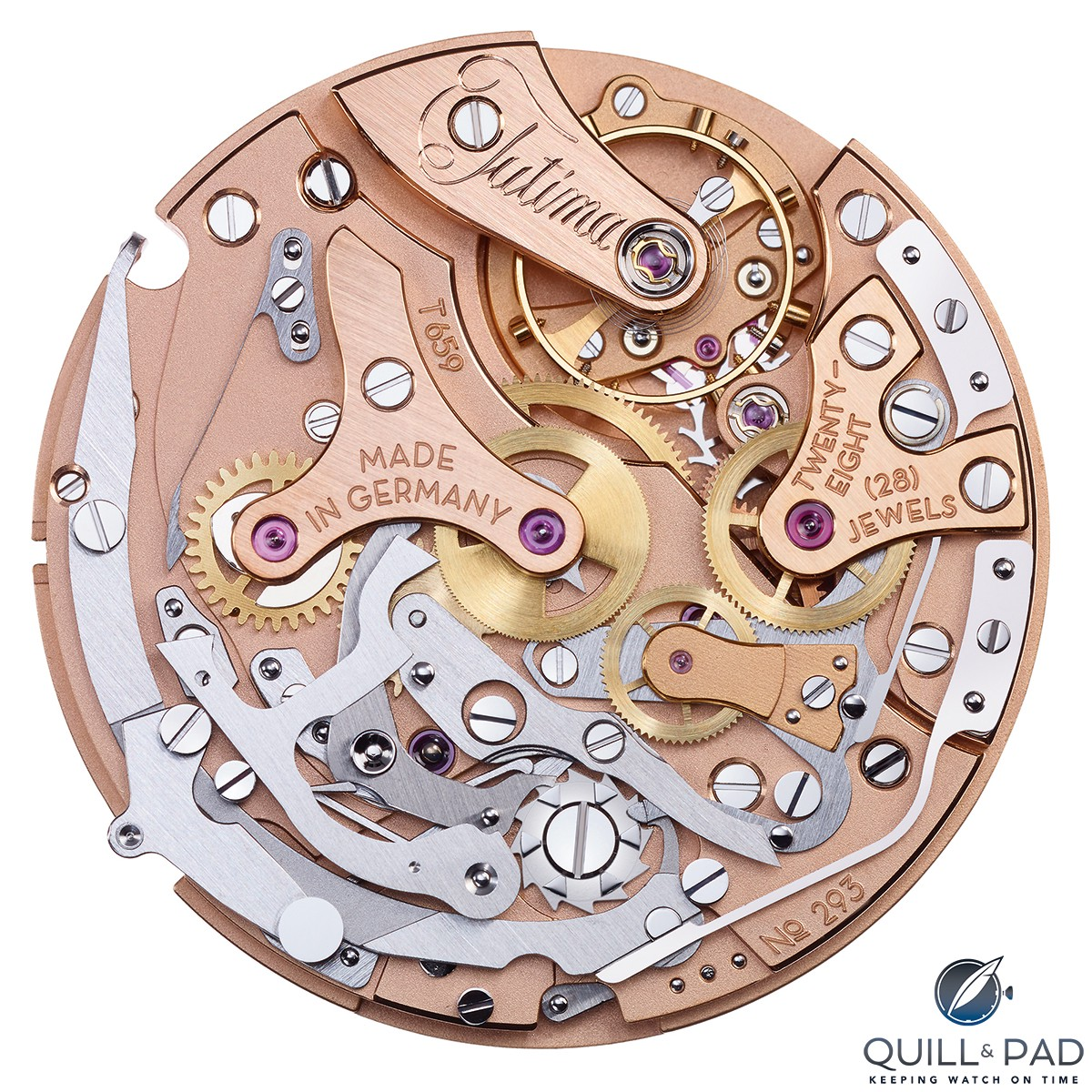Tutima in house Caliber T659 flyback chronograph movement which powers the Tempostopp