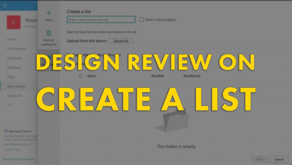 Design Review on Create a list in SharePoint Online