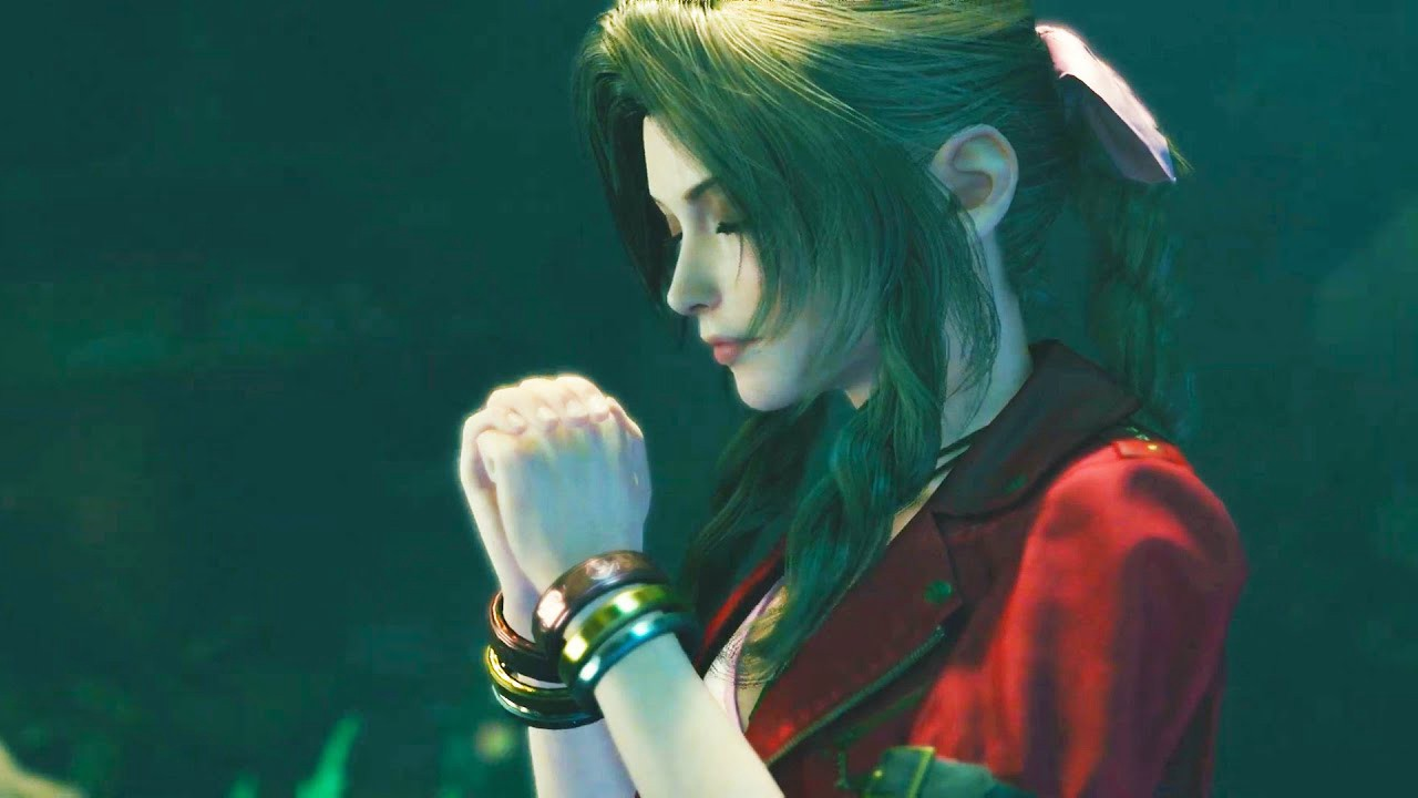 Final Fantasy 7's Aerith is praying in her last moments.