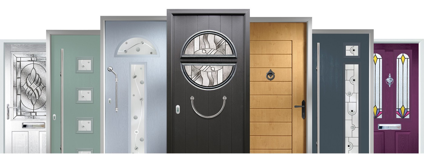A picture of several different kinds of fancy doors.