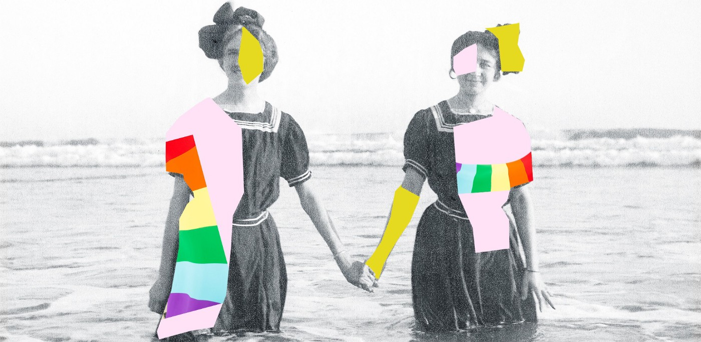 Vintage photo of two women in bathing costumes holding hands hip-deep in a body of water, overlaid with sold colored fragment