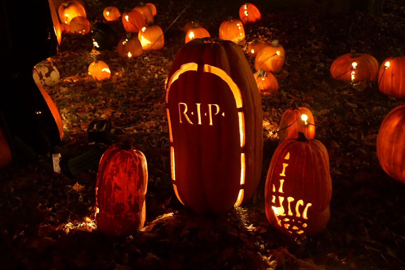 Three carved pumpkings, lit up at night. The middle one says RIP.