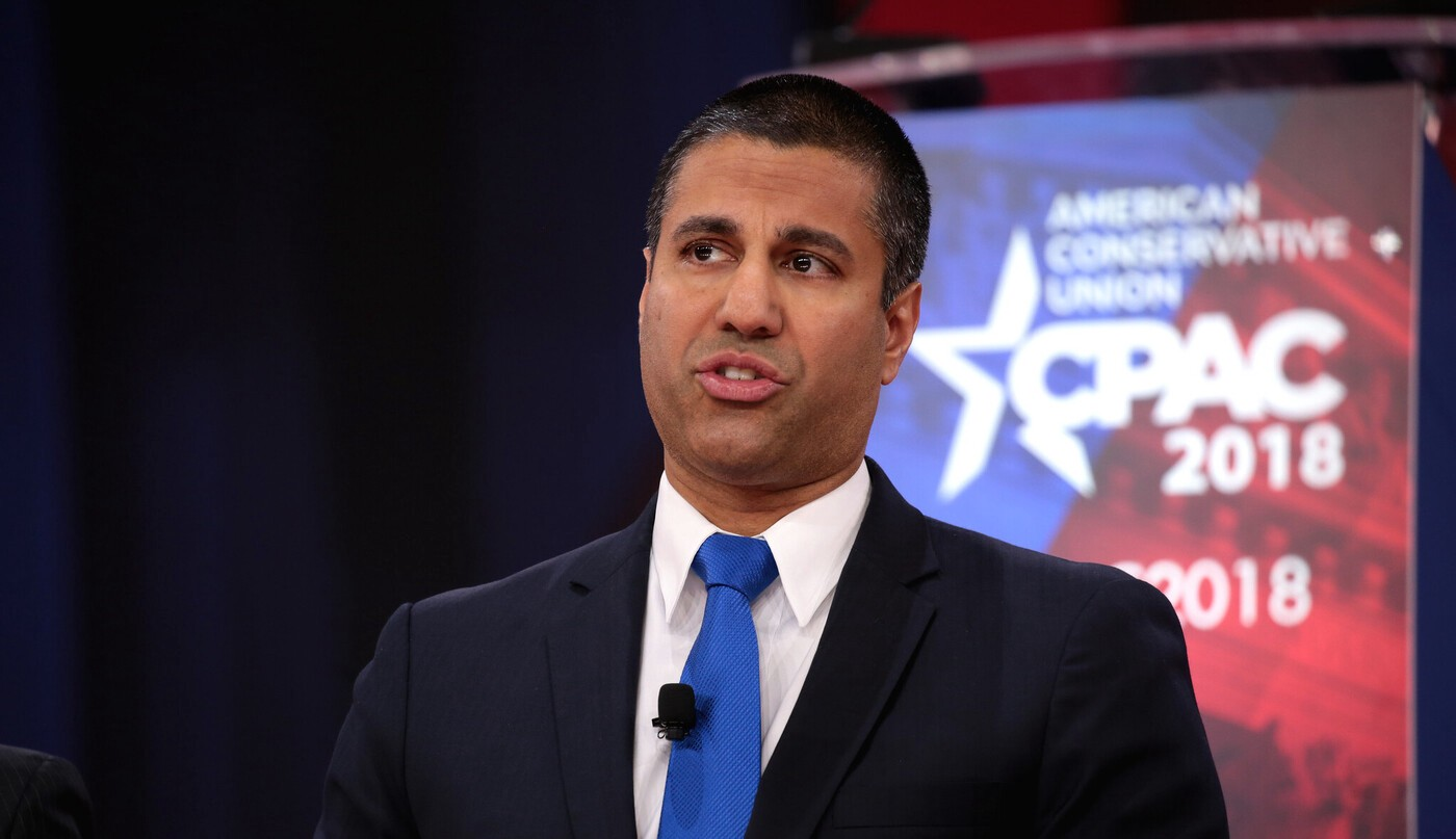 Photo of FCC Chairman Ajit Pai speaking at the American Conservative Union CPAC 2018 Conference.