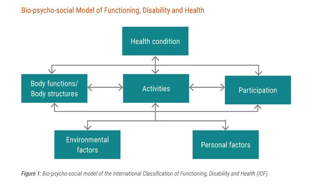 In this diagram the six elements are laid out, highlighting how a health condition combined with differences in body function and structure may interact to form a disability when environmental and personal factors also taken into account.